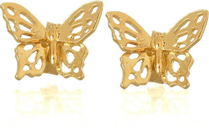 Alex Monroe 22-karat gold-plated butterfly earrings