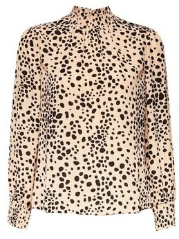 Dorothy Perkins Womens Dp Petite Camel Spot Print Shirred Neck Top
