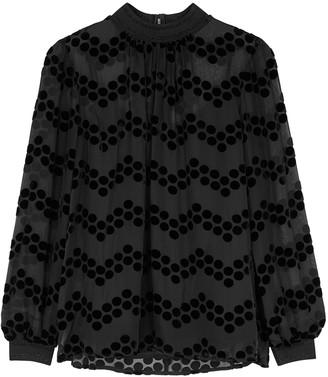 Tory Burch Black polka dot-devore blouse