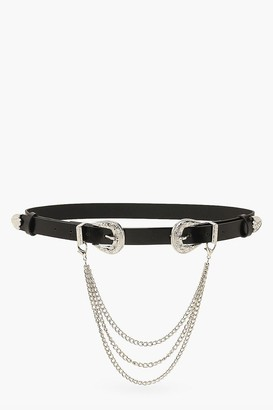 boohoo Double Western Buckle And Chain Belt