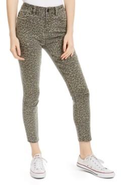 Indigo Rein Juniors' Leopard-Print Cropped Skinny Jeans