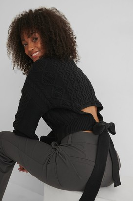 NA-KD Cable Knit Open Back Sweater