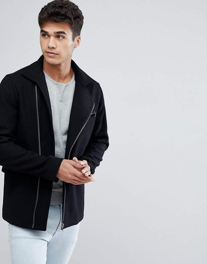 Jack and Jones Wool Mix Coat With Zips