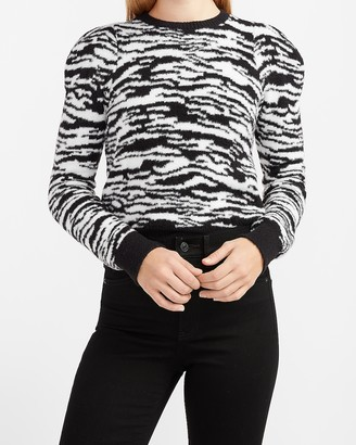Express Cozy Zebra Puff Sleeve Crew Neck Sweater