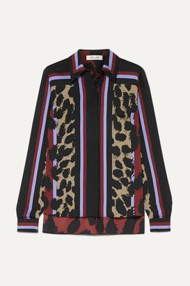 Diane von Furstenberg Mai Printed Silk-blend Satin Blouse - Red