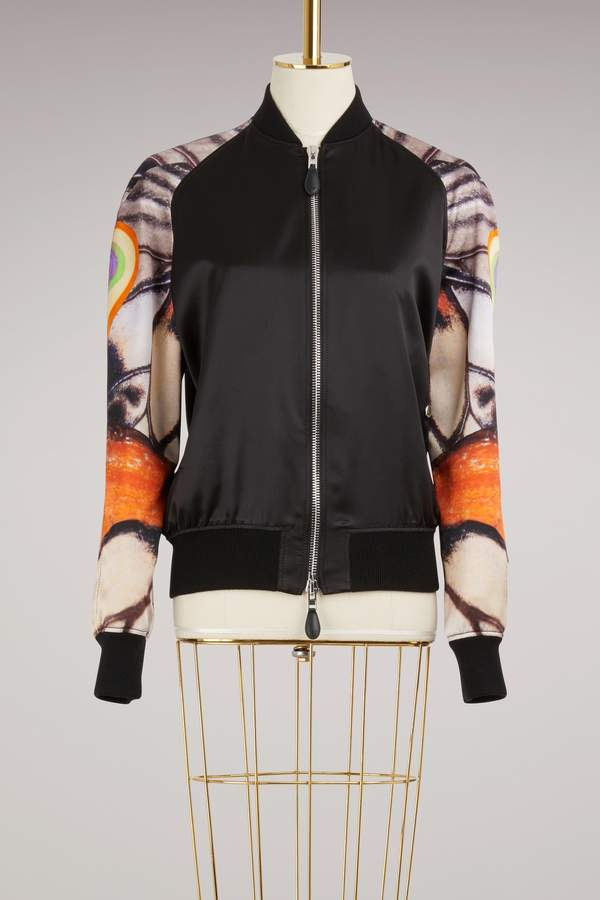 93ec84edf Silk Bomber Jacket with Butterfly Print