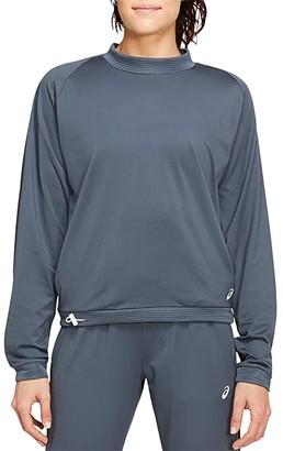Asics Thermopolis Fleece Crop Crew (Carrier Grey) Women's Clothing