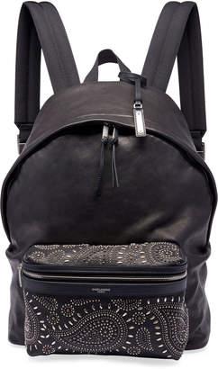 Saint Laurent Men's City Studded Leather Backpack