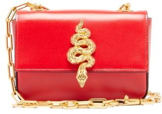Valentino Maison Snake Leather Shoulder Bag - Red