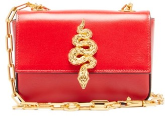 Valentino Maison Snake Leather Shoulder Bag - Womens - Red
