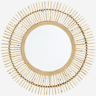 Madam Stoltz - Large Round Mirror With Bamboo Frame