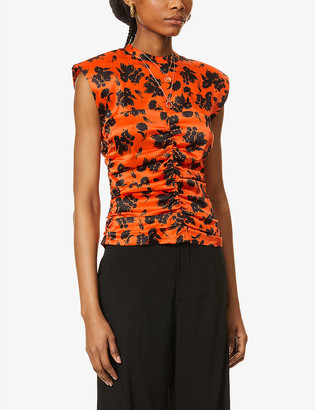 Ganni Floral-print ruched silk-satin top