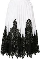 Oscar de la Renta lace inset pleated skirt - women - Silk/Cotton/Polyamide/Spandex/Elastane - S