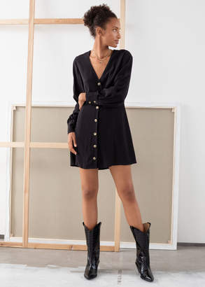 And other stories Flowy Button Up Mini Dress
