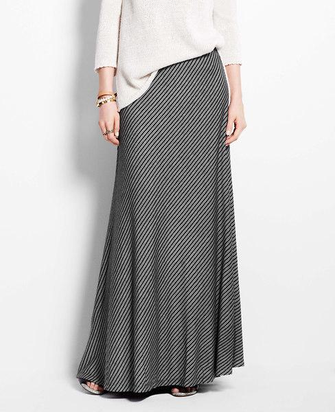 Ann Taylor Bias Stripe Maxi Skirt