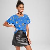Xhilaration Women's Flutter Sleeve Top Blue Juniors')