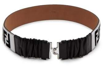Fendi Logo Shearling And Leather Belt - Womens - Black White