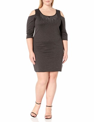 Star Vixen Women's Plus-Size Cutout Shoulder Stud Trim Bodycon Dress