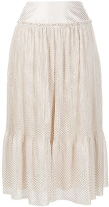 See by Chloe Geometric-Print Metallic Midi Skirt