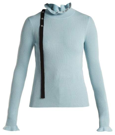 RED Valentino Ruffled Neck Wool Sweater - Womens - Light Blue