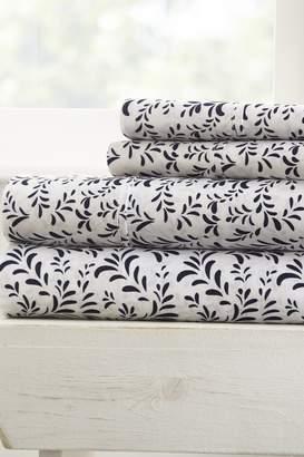 IENJOY HOME The Home Spun Premium Ultra Burst of Vines Pattern 4-Piece Queen Bed Sheet Set - Navy