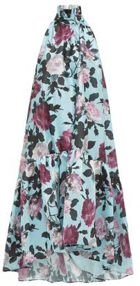 Erdem Belita High-neck Floral-print Taffeta Dress - Blue Multi