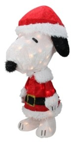 "Northlight 24"" Pre-Lit Peanuts Snoopy in Santa Suit Christmas Outdoor Decoration - Clear Lights"