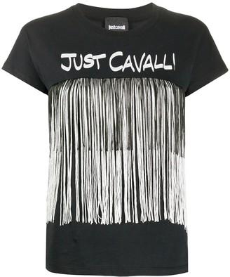 Just Cavalli logo fringed T-shirt