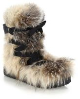 Moncler Zoe Fox Fur, Suede & Leather Lace-Up Boots