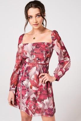 Little Mistress Marlowe Floral Square-Neck Mini Shift Dress
