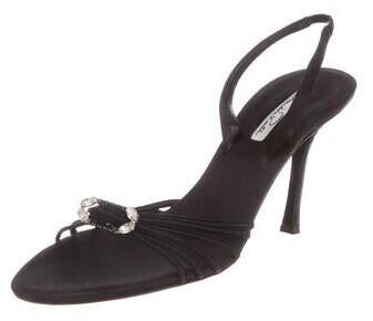 Thumbnail for your product : Oscar de la Renta Crystal Embellishments Slingback Sandals Black