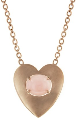 Irene Neuwirth Large Pink Opal Flat Heart Necklace - Rose Gold
