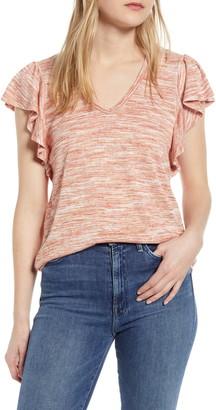 Bobeau Space Dye Flutter Sleeve T-Shirt