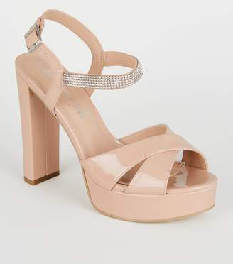 New Look Patent Diamante Strap Platform Heels