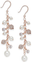 Charter Club Silver-Tone Imitation Pearl and Crystal Vine Earrings, Only at Macy's