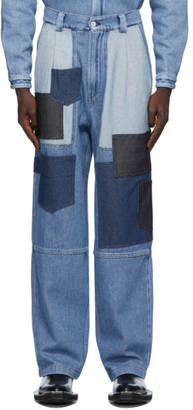 Sunnei Blue Loose-Fit Patchwork Jeans