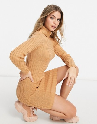 Brave Soul amanda roll neck jumper dress in rib in camel
