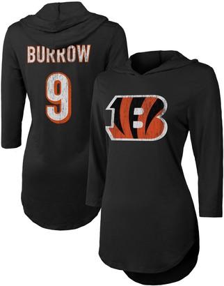 Majestic Women's Threads Joe Burrow Black Cincinnati Bengals Hi-Lo Name & Number 3/4 Sleeve Pullover Hoodie