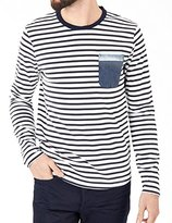 Scotch & Soda Long Sleeve Navy/white Striped Shirt w/ Pocket (XL)