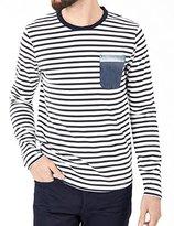 Scotch & Soda Long Sleeve Navy/white Striped Shirt w/ Pocket (XXL)