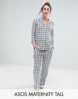 Asos TALL Traditional Tile Print Pajama Shirt And Pant Set