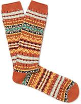 Anonymous Ism - Fair Isle Cotton-blend Socks - Orange