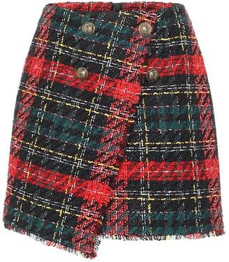 Balmain Plaid tweed miniskirt