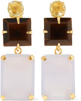 Bounkit Gold-tone, quartz and chalcedony earrings