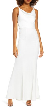 Chi Chi London Mariam Cowl Neck Satin Trumpet Gown