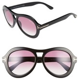 Tom Ford Women's Isla 56Mm Round Aviator Sunglasses - Black/ Gradient Purple