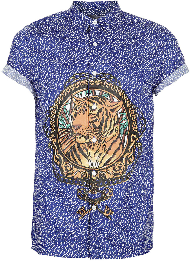 Topman Blue Medallion Tiger Print Short Sleeve Shirt
