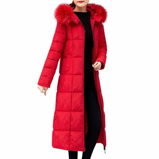 LEXUPE Women Outerwear Faux Fur Hooded Coat Long Cotton-Padded Jackets Pocket Coats(Red L)
