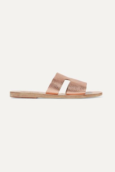 Ancient Greek Sandals Apteros Cutout Metallic Textured-leather Slides - Pink