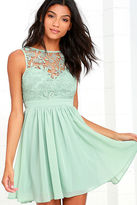 LuLu*s Jolly Song Sage Green Lace Skater Dress
